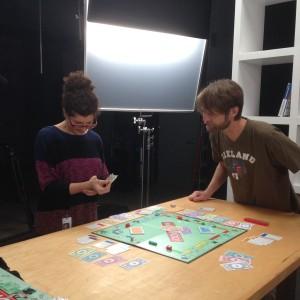 Corey and Ben set up Monopoly.