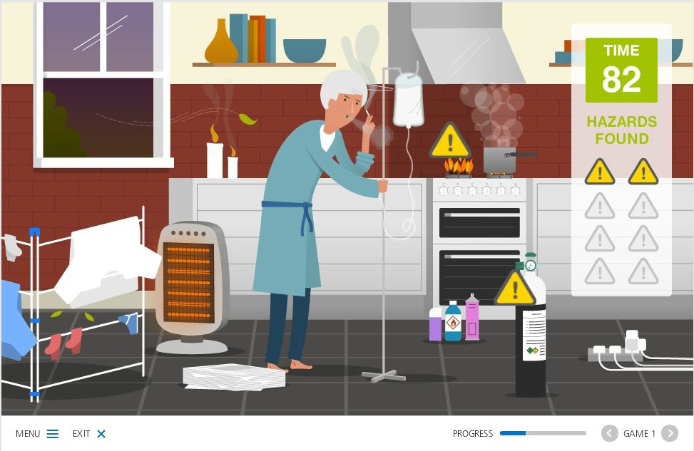 Game in which the learner needs to work against the clock to identify the fire hazards and fuel sources in the home of an elderly patien